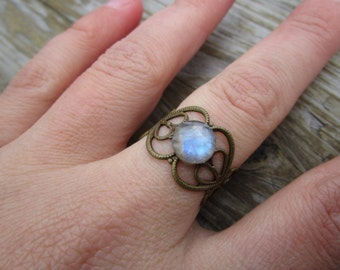 Faceted Rainbow Moonstone Ring Adjustable Brass Gypsy Ring