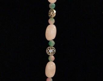 Pink bracelet, pink and green, green bracelet, Gemstone bracelet, rose quartz, candy jade, boho bracelet, gift under 15, gift for women