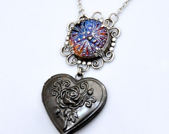 Gunmetal Heart Locket Necklace, Vintage Blue Button Necklace, Rose Flower Locket, Mixed Metal Jewelry, Antique Silver Filigree Necklace