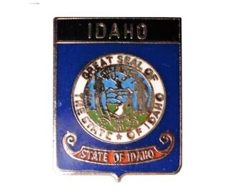 IDAHO STATE SEAL vintage enamel pin lapel badge flag state park