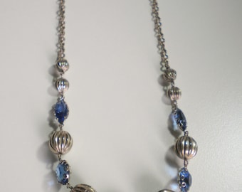 Vintage Choker Style Necklace in Blue and Silver Tones Unmarked