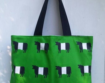 Belted Galloway Cows Green Tote Bag by SBMathieu