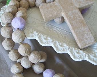 Very Large Handmade Rosary Beads, Sun Bleached, Driftwood, Painted
