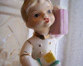 Vintage  Bell Boy or White Cap Figurine Pink Suitcase / Luggage and Yellow Package