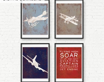 Vintage Airplane and Sounds Print Wall Decor- Digital Download - Childs Room Airplane Nursery Wall Art
