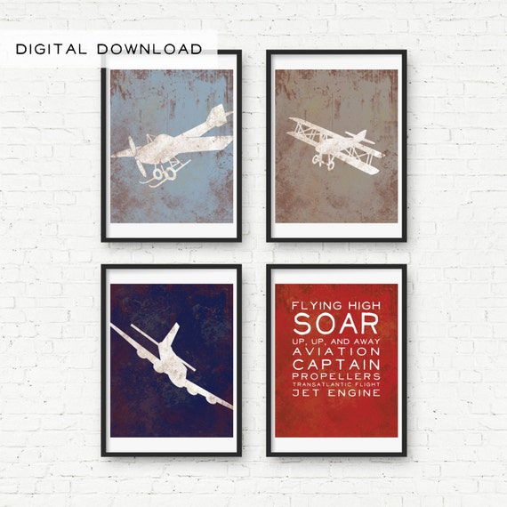 Vintage Plane Wall Decor : Vintage airplane and sounds print wall decor digital download