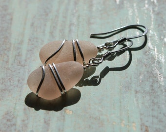 Genuine Sea Glass Earrings - Blush Pink Rare Found Sea Glass Earrings Wire Wrapped