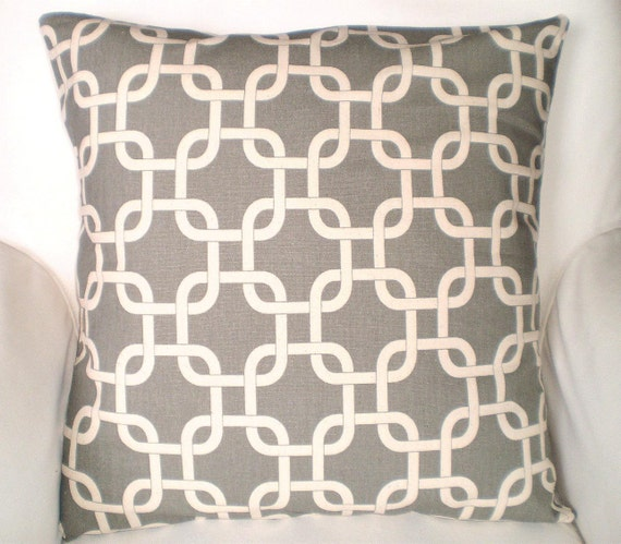 Decorative Cream Pillows : Gray Cream Decorative Throw Pillow Cover by FabricJunkie1640