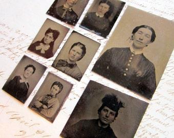 8 miniature gem tintypes - assorted sizes women - tt471