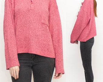 1980s Heather Pink Oversized Henley Sweater