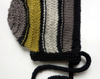 PDF PATTERN Ribbed Baby Boy Girl Bonnet Knitted Download Vintage Retro Striped Textured Tutorial diy How To Knitting Knit Straight Needle