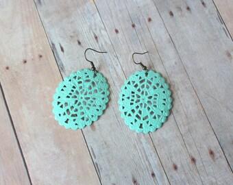 A Q U A - Bright Aqua Blue Mint Green Lace Oval, Hand Painted Filigree, Antique Bronze Dangle Earrings