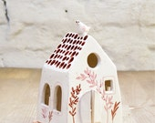 small house candle holder/handmade ceramic house with little bird/original home decor