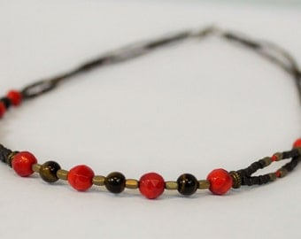 Red Coral & Tiger Eye Necklace