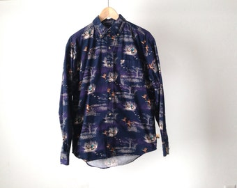 vintage BLUE & purple pheasant oxford PREPPY button down hunting east coast shirt vintage mid 90s shirt