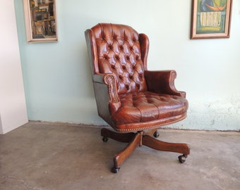 MID CENTURY MODERN Wingback Swivel Desk Chair in Brown Leather (Los Angeles)
