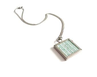 silver frame necklace | cross stitch jewelry | geometric jewelry | pendant necklace | statement necklace | boho necklace | modern jewelry