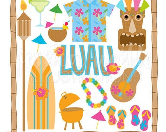Tiki Party Cute Digital Clipart - Commercial Use OK - Luau Graphics, Luau Clipart, Tiki Clipart