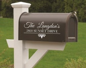 Mailbox Vinyl Decal-Custom Name and Address-Set of TWO-Vinyl Lettering-Curb Appeal
