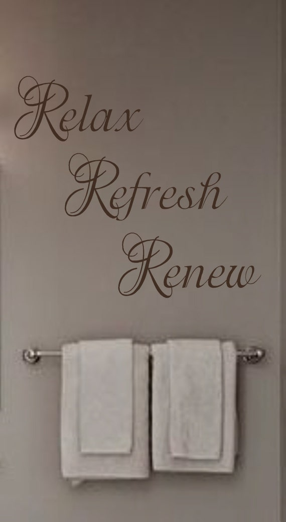 Relax refresh renew vinyl wall decal bathroom bedroom spa for Spa wall decor
