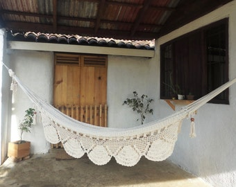 MOUNTAIN  HAMMOCK- Ecru/ Cream Solid Color- 100% Cotton Thread- Excellent quality-Custom Combinations Available! Ships from Nicaragua