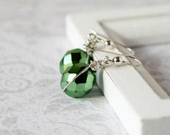 Emerald Crystal Earrings Irish Green Earrings Forest Green Drops Iridescent Metallic Dark Green Earrings Sterling Silver Wrapped Mothers Day