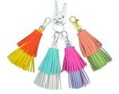Tassel Keychain, Leather Tassel Purse Clip, Tassel Clip, Colorful Tassels, Clip On Tassels, Tassel Purse Charm, Fringe Key Chain