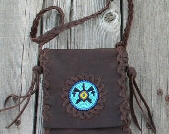 Leather passport bag , Beaded turtle bag ,  small leather bag , boho native style
