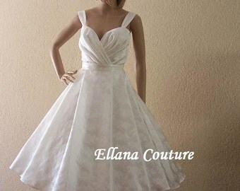 Emily - Retro Style Tea Length Wedding Dress.