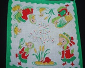 Vintage 1950's The Ugly Duckling Children's Handkerchief - Sheer Cotton Linen - Storybook Character - Collectibles
