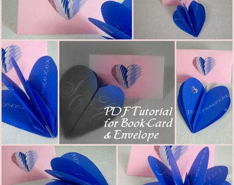 Heart Shape Book-Card and Envelope to Make - Valentine, Love, Wedding DIY Tutorial PDF