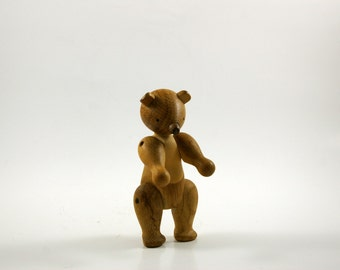Early Kay Bojesen Articulated Oak Wood Bear Figurine