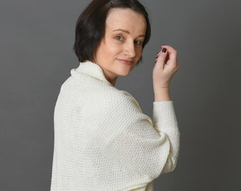 Linen knit wrap cape Cocoon cardigan Knit oversized shrug White women cardigan Women linen sweater Open cardigan
