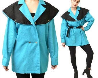 Vintage Avant Garde Electric Blue Black Jacket// L
