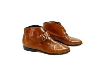 Brown Leather Dress Ankle Booties by Nine West, Excellent Condition, Size 7 M