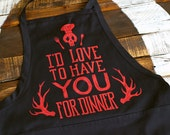 DISCOUNT - Hannibal Apron - I'd Love To Have You For Dinner Apron - Hannibal Lecter Apron - Eat The Rude Apron