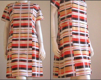 60s 70s vintage colorblock dress