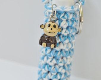 Crochet Chapstick Holder Keychain with Monkey Charm
