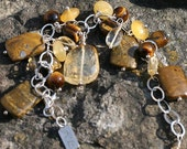 One of a Kind, Sunshine For Your Wrist-Citrine and Ocean Jasper Cha Cha Bracelet