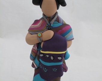 Women of the earth polymer clay sculpture figurine with blanket