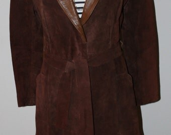70s Beautiful Chocolate Brown Suede Leather Trench Coat by Sears