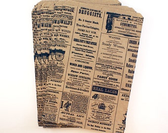 SALE - 50 Vintage Newspaper Ad Kraft brown paper bags - Nostalgic design 6 1/4 X 9 3/4 - Wedding favor bags, gift wrapping, merchandise bags