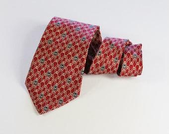 Vintage Burgundy Pattern Geo Print Silk Dress Necktie