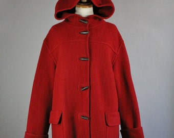 Women's Toggle Coat, Dark Red Wool Blanket Toggle Button Duffel Style Long Warm Winter Hood Coat, Vintage, Size Large, FREE SHIPPING