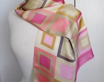 Vintage 80s Women's Pink Beige Echo Designer Label Squares Modern Design Rectangle Long Silk Summer Scarf