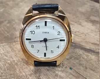 Zarja gold covered mechanical watch women's ladie's vintage Zaria