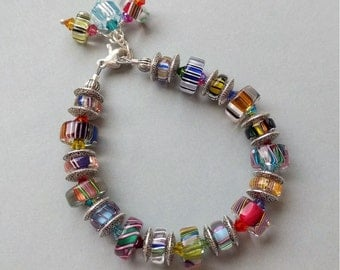 Multicolor Slice and Metal Spacer  Glass Beaded Bracelet with Swarovski Austrian Crysal Accents