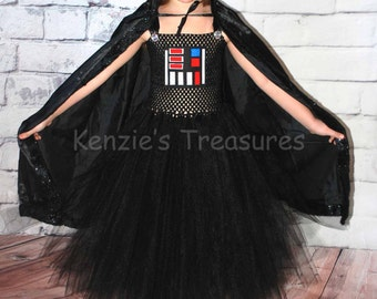 Vader Tutu Dress Costume ~ Size 2T to Size 6 ~ With Or Without Cape Option