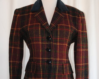 Womens Plaid Blazer with Velveteen Collar by Jones New York