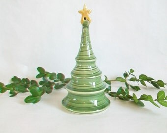 Taller Christmas Tree with a Star on Top -  Handmade, Wheel Thrown - Holiday Decor - Ready to Ship - Decor/Ornament